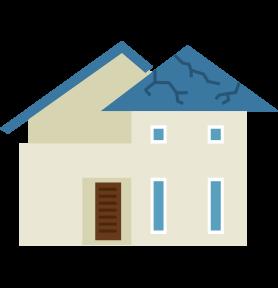 屋根材の劣化が著しい